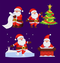 Santa clauses set icons snow chimney tree vector
