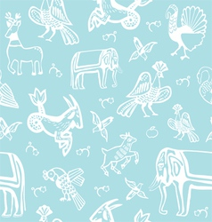 seamless background with creatures of the old Russ vector image vector image