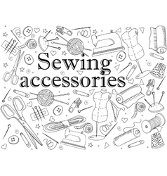 Sewing accessories coloring book vector