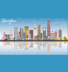 Shanghai skyline with color buildings blue sky vector