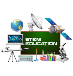 Stem education on board and different devices vector