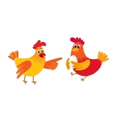 Two funny cartoon chickens pointing to something vector