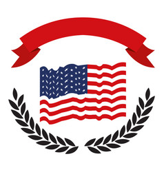 United states flag with black olive branch arch on vector