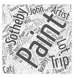 Upcoming trip to sothebys word cloud concept vector