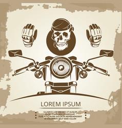 vintage moto club logo design skull vector image vector image