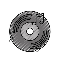 vinyl old music with notes vector image vector image
