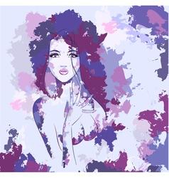 Woman aquarel face vector image vector image