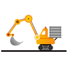 yellow excavator on white background mining vector image vector image