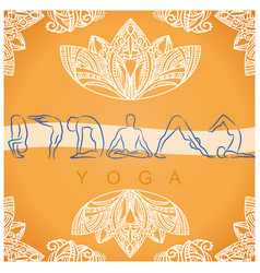 Yoga poses background with symbols vector