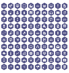 100 web and mobile icons hexagon purple vector image vector image