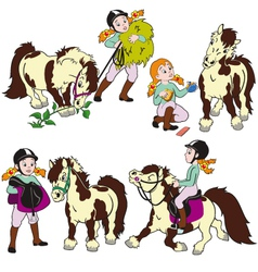 set with girl and pony vector image