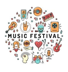 Music festival poster template musical collage vector