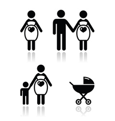 Pregnant woman icons set vector
