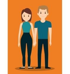 Romantic heterosexual couple full body icon image vector