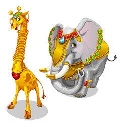 giraffe and elephant decorated precious jewelry vector image