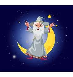 A wizard floating near the moon vector