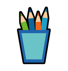 Cup with colors pencils icon vector