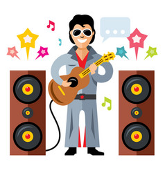 Musician parody artist with a guitar rock vector