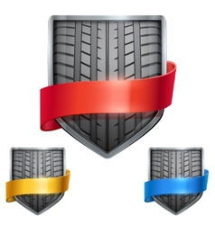 Set of Bright shield in the race tire inside with vector image