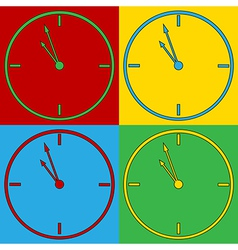 Pop art clock icons vector