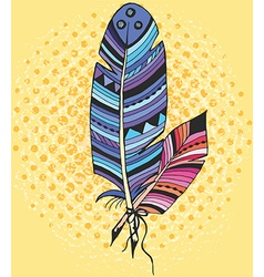 Two ethnic feather in color vector