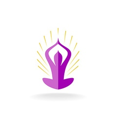 Yoga pose logo with sun rays vector image