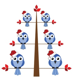 Bird christmas tree vector