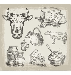 Hand drawn sketch set of dairy products and cow vector