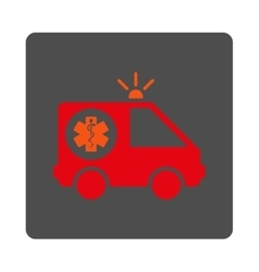 Ambulance car rounded square button vector
