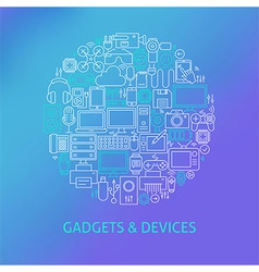 Thin line electronics and gadgets icons set circle vector