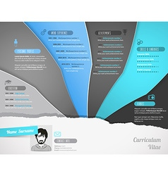 Creative resume template with paper stripes vector image