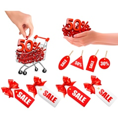 set of hands with sale and tags vector image