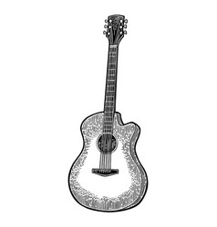 Acoustic guitar vintage black engraving vector