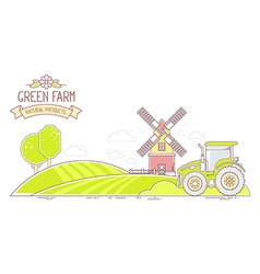 Agribusiness of colorful green farm life wit vector image vector image
