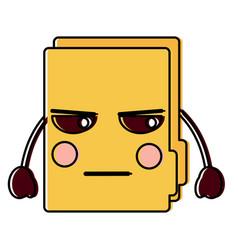 Angry file folder kawaii icon image vector