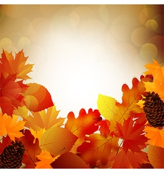 Autumn leaves with light of blurred vector image