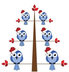 bird christmas tree vector image vector image