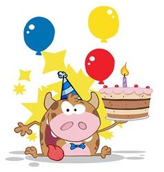 Birthday Calf Cartoon Character vector image vector image