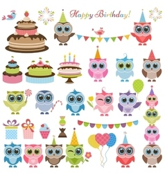 Birthday party set with owls and owlets vector image vector image