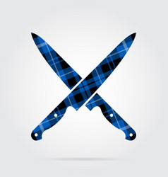 Blue black tartan icon - crossed kitchen knives vector