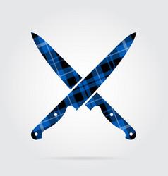 Blue black tartan icon - crossed kitchen knives vector