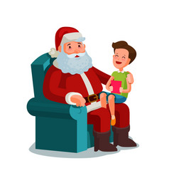 Christmas or new year happy child sitting on lap vector