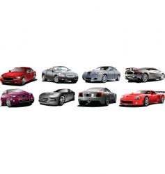 Eight cars vector