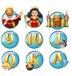 Fairytales characters and letters on round badges vector
