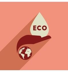 Flat web icon with long shadow eco symbol vector