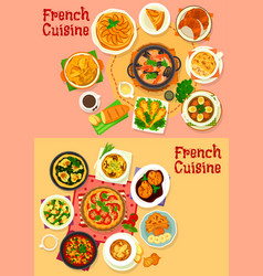 french national cuisine healthy dishes vector image vector image