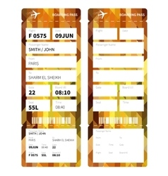 Gold boarding pass vector image