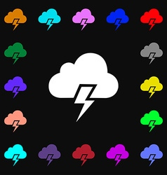 Heavy thunderstorm icon sign lots of colorful vector
