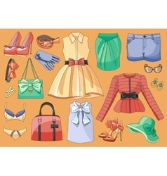Lady clothes and accessories vector