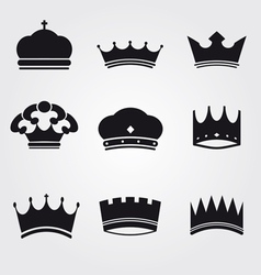 monochrome vintage antique crowns vector image vector image